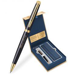 S0920670Gifts Waterman Hemisphere Набор с гравировкой: Чехол и Шариковая ручка   Mars цвет: Black GT