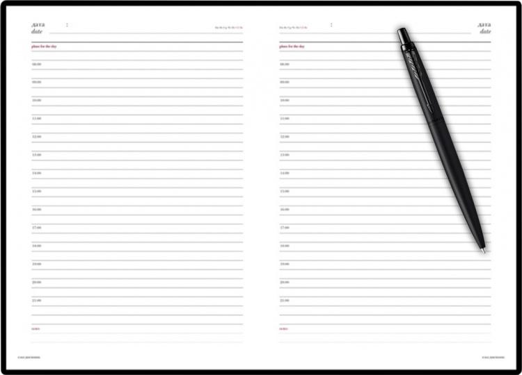 Подарочный набор: Шариковая ручка Parker  Jotter XL SE20 Monochrome в подарочной упаковке, цвет: Black, стержень: Mblue и Ежедневник черный недатирова