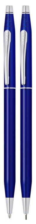 Набор Cross Classic Century Translucent Blue Lacquer: шариковая ручка и механический карандаш 0.7мм