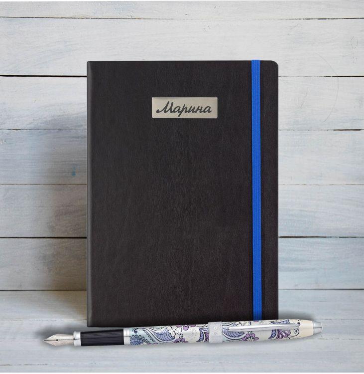 """Набор с гравировкой: Блокнот и  перьевая ручка Selectip Cross Botanica. Цвет - """"Сиреневая Орхидея""""."""