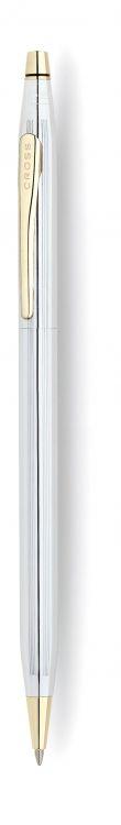 Шариковая ручка Cross Century Classic. Цвет - серебристый с золотистой отделкой.