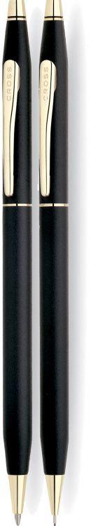Набор Cross Сentury Classic: шариковая ручка + механический карандаш 0.5мм. Цвет - черный.