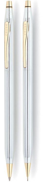 Набор Cross Сentury Classic: шариковая ручка + карандаш 0.7мм. Цвет - серебристый/позолота