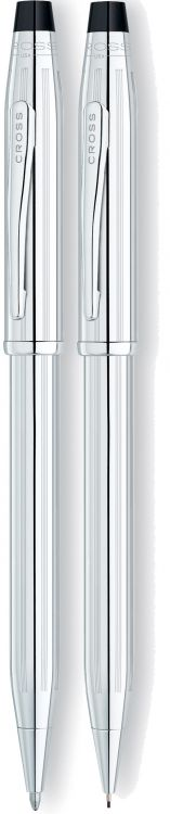 Набор Cross Century II: шариковая ручка и карандаш 0,7мм. Цвет - серебристый