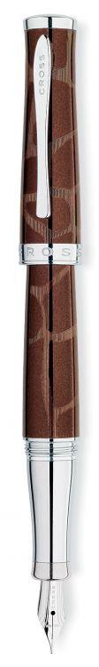"""Перьевая ручка Cross Sauvage Giraffe. Цвет - коричневый с рисунком под """"жирафа""""/хром"""