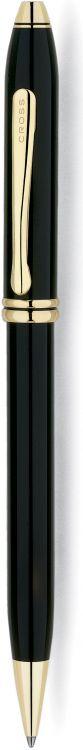 Шариковая ручка Cross Townsend, тонкий корпус. Цвет - черный.