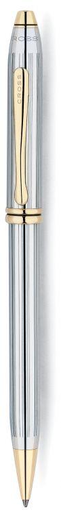 Шариковая ручка Cross Townsend, тонкий корпус. Цвет - серебристый с золотистой отделкой.
