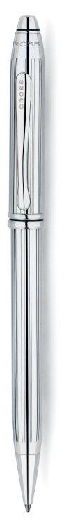 Шариковая ручка Cross Townsend, тонкий корпус. Цвет - серебристый.