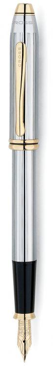 Перьевая ручка Cross Townsend. Цвет - серебристый с золотистой отделкой.