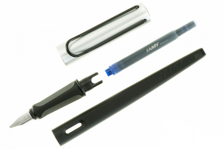 Ручка перьевая Lamy 011 joy, Черно-серебристый, 1.5 mm