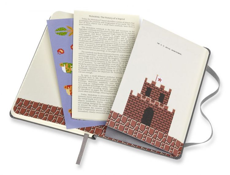 Блокнот Moleskine Limited Edition Super Mario Pocket 90x140мм 192стр. линейка серый Nes Cartridge
