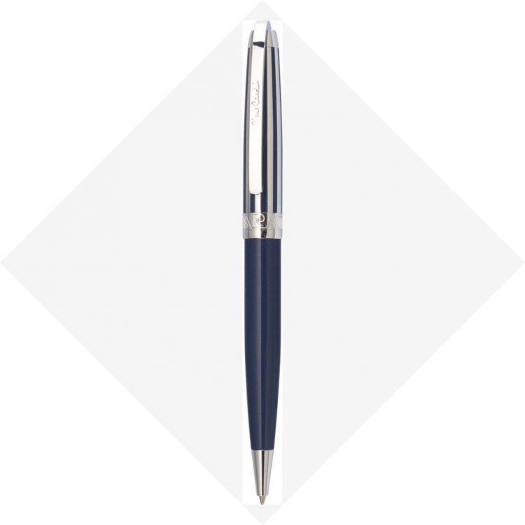 Шариковая ручка Pierre Cardin PROGRESS. Корпус - латунь, глянцевый лак; колпачок - контрастные полосы синего лака и хрома. Отделка и детали дизайна -