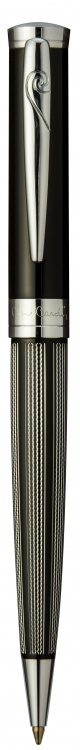 Ручка шариковая Pierre Cardin TRESOR. Цвет - черный и серебристый. Упаковка В.