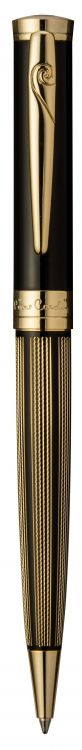 Ручка шариковая Pierre Cardin TRESOR. Цвет - черный и золотистый. Упаковка В.