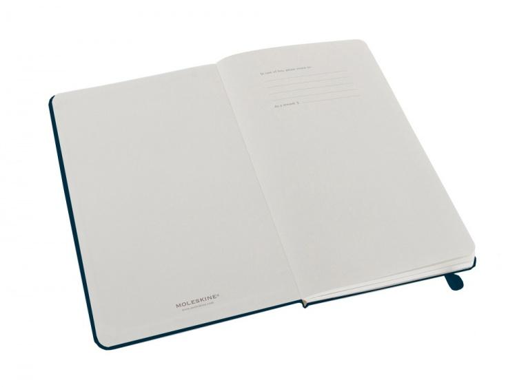 Записная книжка Moleskine Classic (нелинованный) в твердой обложке, Large (13х21см), голубой сапфир