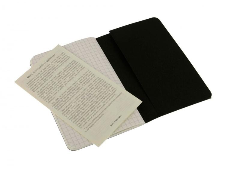 Записная книжка Moleskine Cahier (в клетку, 3 шт.), Pocket (9х14см), черный