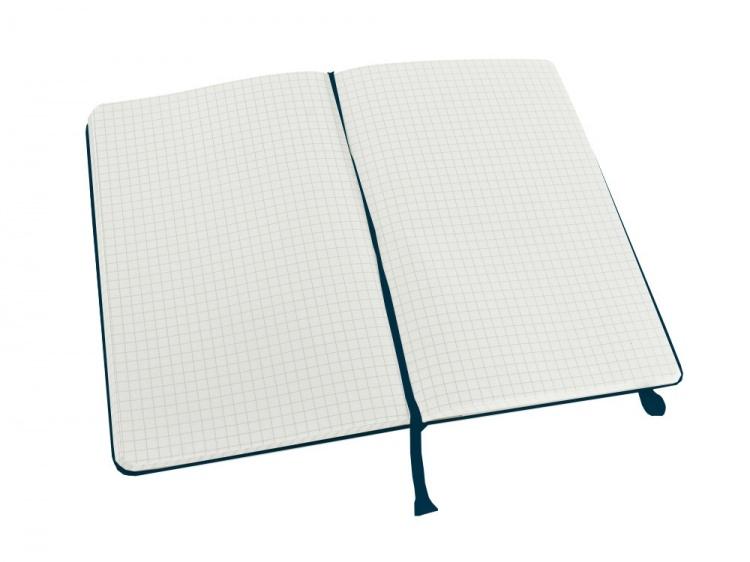 Записная книжка Moleskine Classic (в клетку) в твердой обложке, Large (13х21см), голубой сапфир