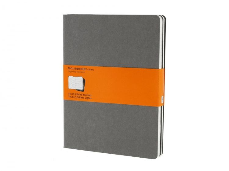 Записная книжка Moleskine Cahier (в линейку, 3 шт.), ХLarge (19х25см), серый