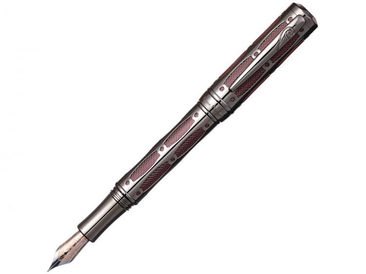Ручка перьевая Pierre Cardin THE ONE с колпачком на резьбе, пушечная сталь/красный