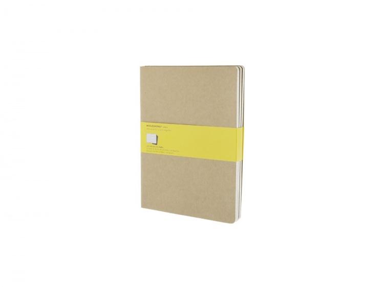 Записная книжка Moleskine Cahier (в клетку, 3 шт.), ХLarge (19х25см), бежевый