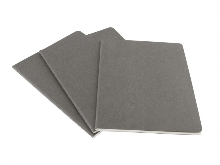 Записная книжка Moleskine Cahier (в клетку, 3 шт.), ХLarge (19х25см), серый