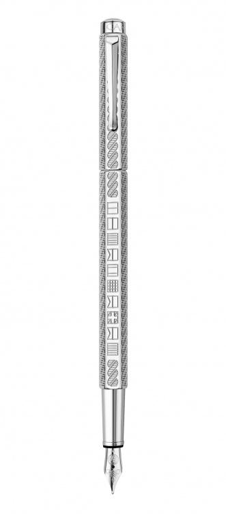 Ручка перьевая Carandache Ecridor YACHT CLUB  (F) латунь палладиевое покрытие перо сталь