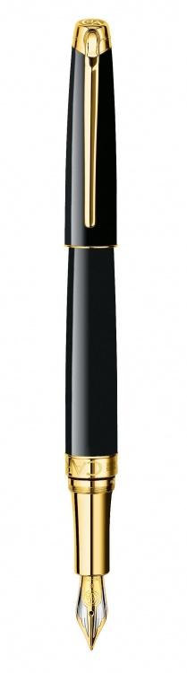 Ручка перьевая Carandache Leman Ebony  black lacquered GP F золото 18K двухцветное подар.к