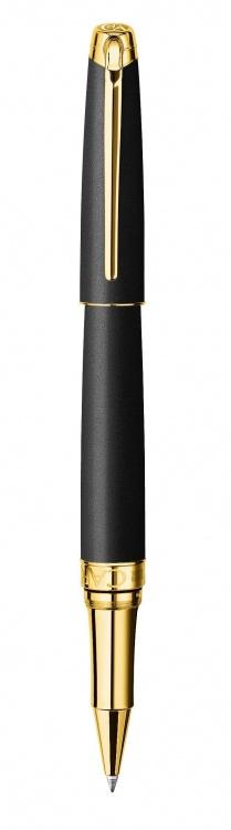 Ручка роллер Carandache Leman Black lacquered matte GP латунь лак отделка позолота