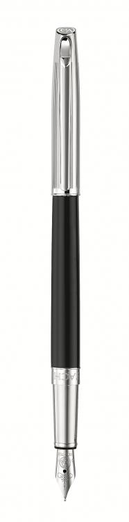 Ручка перьевая Carandache Madison Bicolor Black SP  (F) латунь посеребрение с родиевым нап