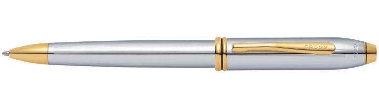 Шариковая ручка Cross Townsend. Цвет - серебристый с золотистой отделкой.
