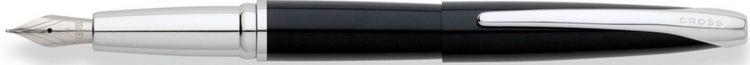 Перьевая ручка Cross ATX. Цвет - глянцевый черный/серебро. Перо - сталь, среднее