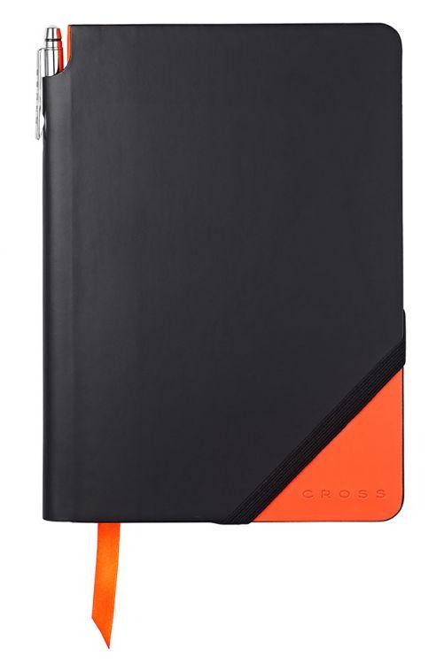 Записная книжка Cross Jot Zone, A5, 160 страниц в линейку, ручка в комплекте. Цвет - черно-оран