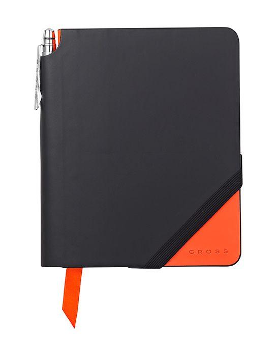 Записная книжка Cross Jot Zone, A6, 160 страниц в линейку, ручка в комплекте. Цвет - черно-оранже