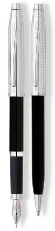 Набор Cross Century II: шариковая ручка и перьевая ручка. Цвет - черный/серебристый.