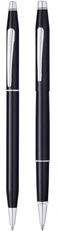Набор Cross Classic Century Black Lacquer: шариковая ручка и ручка-роллер, цвет - черный