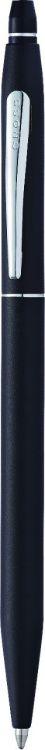 Шариковая ручка Cross Click в блистере, с доп. гелевым стержнем черного цвета. Цвет - мат. черный