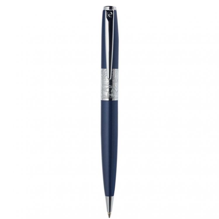 Шариковая ручка Pierre Cardin BARON. Корпус - латунь и лак. Отделка и детали дизайна - сталь, хром, гравировка кольца в стиле стимпанк. Цвет - синий.