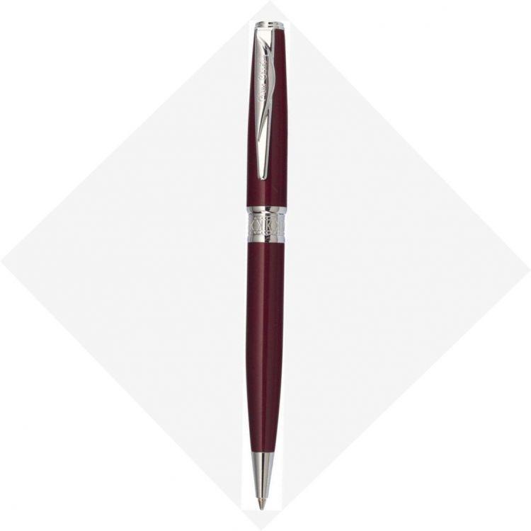 Шариковая ручка Pierre Cardin SECRET Business. Корпус - латунь и лак. Отделка и детали дизайна -  сталь, хром. Цвет - перламутровый красный. Упаковка