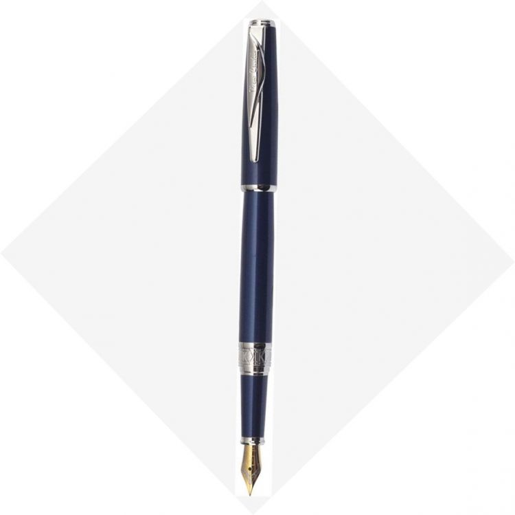 Перьевая ручка Pierre Cardin SECRET Business. Корпус и колпачок - латунь и лак. Отделка и детали дизайна -  сталь, хром. Цвет - перламутровый синий. П