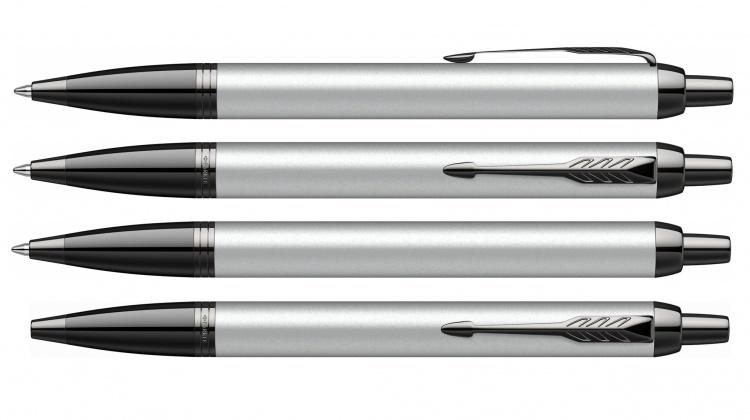 Подарочный набор: Шариковая ручка Parker IM GREY BT и Ежедневник недатированный  серый
