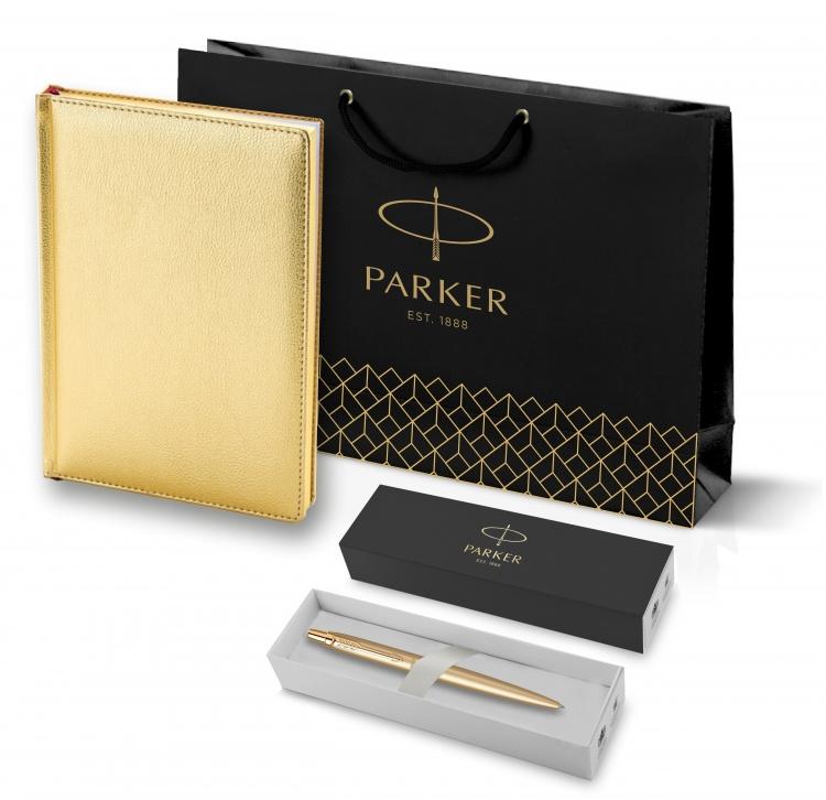 Подарочный набор: Шариковая ручка Jotter XL Gold и Ежедневник недатированный золотистый золотой срез