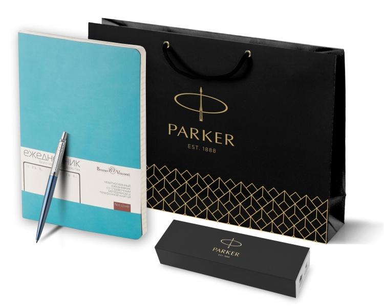 Подарочный набор: Шариковая ручка Parker Jotter Essential, Waterloo Blue CT и Ежедневник недатированный бирюзовый