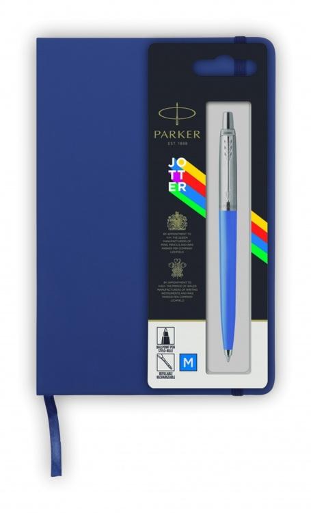Подарочный набор: Шариковая ручка Parker Jotter ORIGINALS BLUE CT, стержень: Mblue В БЛИСТЕРЕ и блокнот ярко-синего цвета
