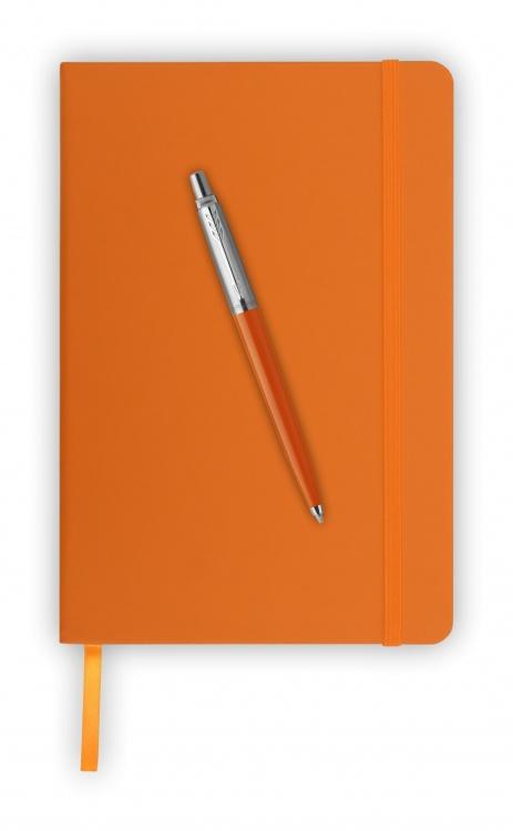 Подарочный набор: Шариковая ручка Parker Jotter ORIGINALS ORANGE CT, УПАКОВКА БЛИСТЕР и блокнот оранжевого цвета