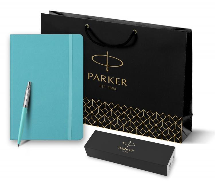 Подарочный набор: Шариковая ручка Parker Jotter K60, цвет мятный (Tiffani), цвет чернил синий, в подарочной коробке и Блокнот