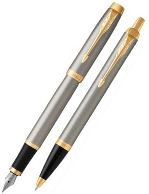 Набор: Перьевая и Шариковая ручка Parker IM Core Brushed Metal GT
