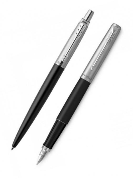 Подарочный набор: Перьевая и Шариковая ручки Parker Jotter Satin Black CT