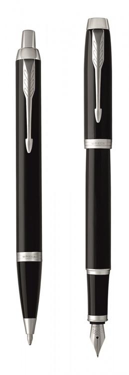 Набор из 2х ручек в подарочной коробке  «Паркер Ай Эм Блэк Cb Ти».  Шариковая ручка и перьевая ручка.