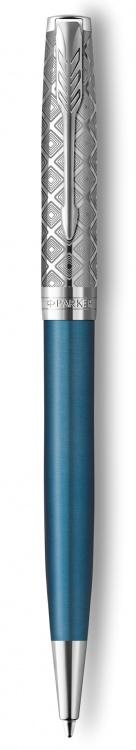 Шариковая ручка Parker Sonnet Premium Refresh BLUE, цвет чернил Мblack, в подарочной упаковке