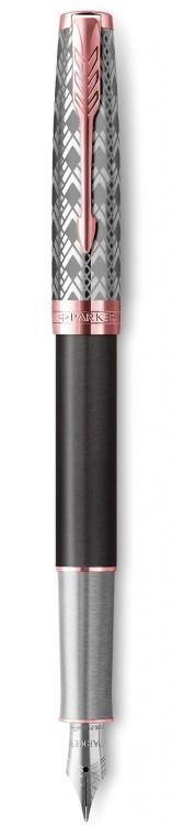 Перьевая ручка Parker Sonnet Premium  GREY, перо 18K, толщина F, цвет чернил black, в подарочной упаковке